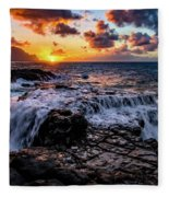 Cascading Water At Sunset Fleece Blanket
