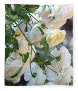 Cascading White Roses Fleece Blanket