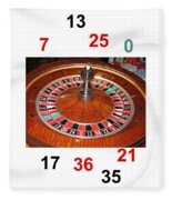Casino Roulette Wheel Lucky Numbers Fleece Blanket