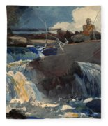 Casting In The Falls Fleece Blanket