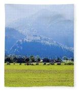 Castle And Cattle Fleece Blanket