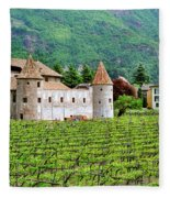 Castle And Vineyard In Italy Fleece Blanket