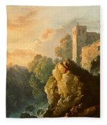 Castle And Waterfall Fleece Blanket