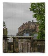 Castle Behind Cemetery Fleece Blanket