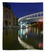 Castle Bridge A By Night Bristol England Fleece Blanket