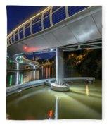 Castle Bridge C By Night Bristol England Fleece Blanket