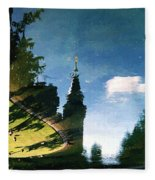 Castle In The Lake Fleece Blanket