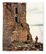 Castle Ruins On The Seashore In Ireland Fleece Blanket