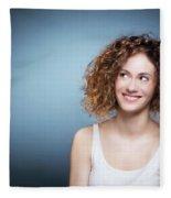 Casual Portrait Of A Cute, Authentic Girl. Fleece Blanket