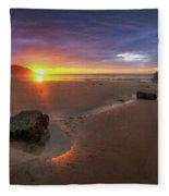 Caswell Bay Sunrise Fleece Blanket