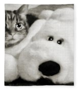 Cat And Dog In B W Fleece Blanket