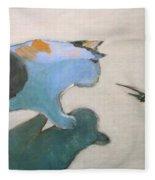 Cat And Lizard  Fleece Blanket