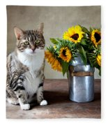 Cat And Sunflowers Fleece Blanket
