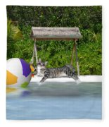 Cat At The Beach Fleece Blanket