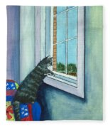 Cat By The Window Fleece Blanket