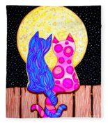 Cat Couple Full Moon Fleece Blanket