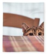Cat Hiding Under The Table Fleece Blanket
