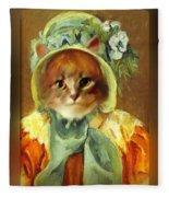 Cat In Bonnet Fleece Blanket