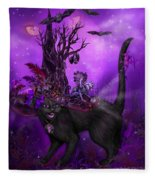 Cat In Goth Witch Hat Fleece Blanket