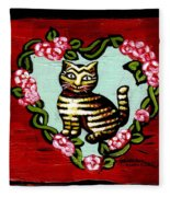 Cat In Heart Wreath 2 Fleece Blanket