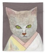 Cat In Kimono Fleece Blanket
