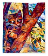 Cat In Tree Fleece Blanket
