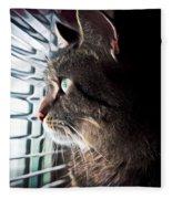 Cat Looking Out Window Fleece Blanket