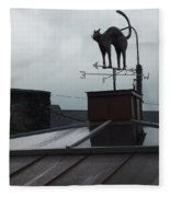 Cat On A Cool Tin Roof Fleece Blanket