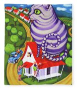 Cat On A Red Tin Roof Fleece Blanket