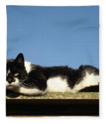Cat On The Roof Fleece Blanket