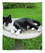 Cat Relaxing In A Birdbath In The Summertime  Fleece Blanket