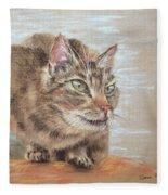 Cat Sitting On Lookout Fleece Blanket