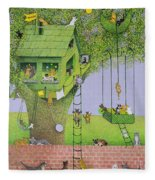 Cat Tree House Fleece Blanket