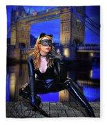 Cat Woman In London Fleece Blanket