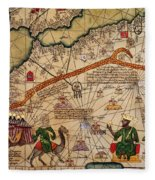 Catalan Map Of Europe And North Africa Charles V Of France In 1381  Fleece Blanket