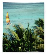 Catamaran On Tumon Bay Fleece Blanket