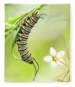 Caterpiller On Plant Fleece Blanket