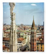 Cathedral And Campanile Milan Italy Fleece Blanket