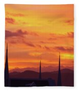 Cathedral Church Sunset Fleece Blanket