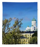 Cathedral Landmark And Central Helsinki View In Finland Fleece Blanket