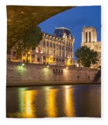 Cathedral Notre Dame And River Seine - Paris Fleece Blanket