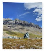 Cathedral Peak Over Waterton Valley Trail - Glacier National Park Fleece Blanket