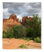 Cathedral Rock With Clouds Fleece Blanket