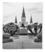 Catholic Basilica Jackson Sq Andrew Jackson New Orleans  Fleece Blanket