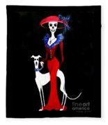 Catrina With Greyhound Fleece Blanket