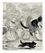Cats In A Bicycle Race, Hyde Park, 1896 Fleece Blanket