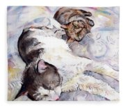Cats In Watercolor Fleece Blanket