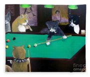 Cats Playing Pool Fleece Blanket