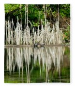 Cattail Reflection Fleece Blanket
