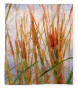 Cattails By The Lake Fleece Blanket